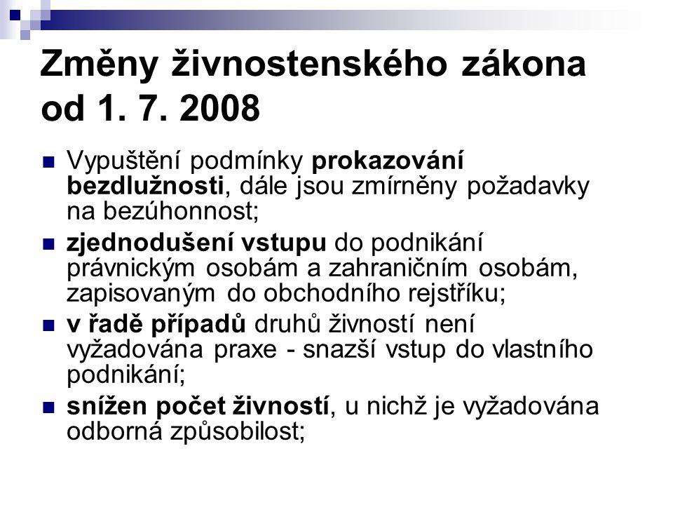 Změny živnostenského zákona od 1. 7. 2008 Vypuštění podmínky prokazování bezdlužnosti, dále jsou zmírněny požadavky na bezúhonnost; zjednodušení vstup
