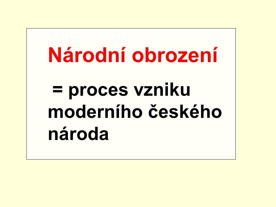 Národní obrození = proces vzniku moderního českého národa
