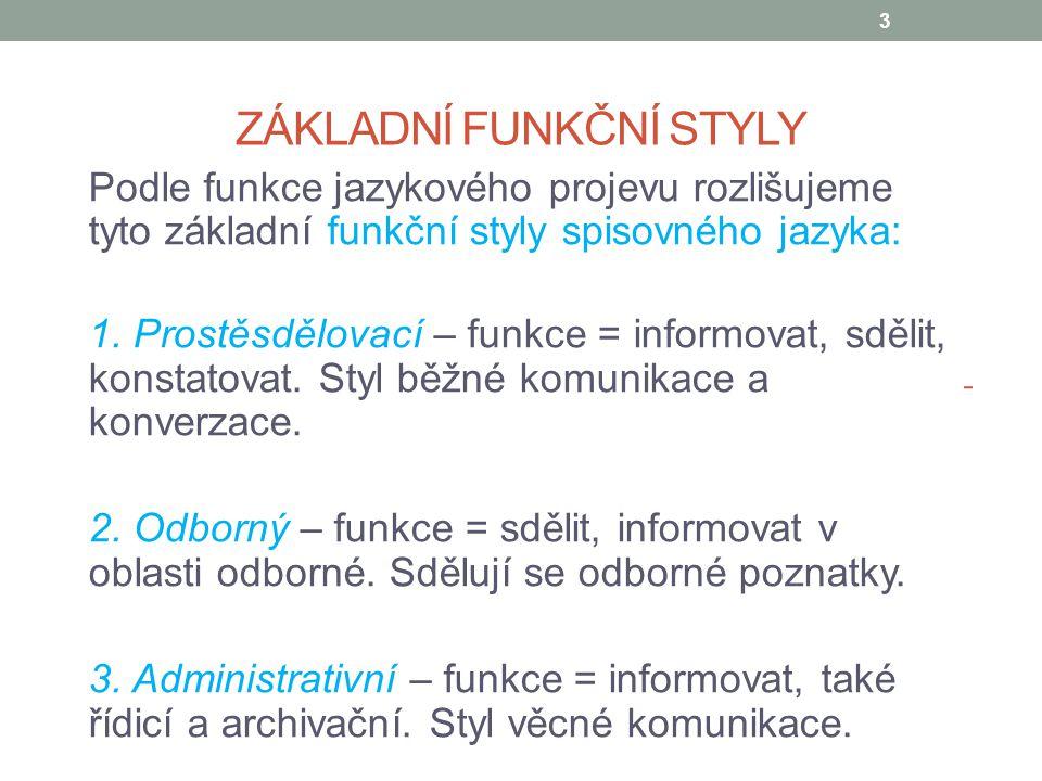 ZÁKLADNÍ FUNKČNÍ STYLY Podle funkce jazykového projevu rozlišujeme tyto základní funkční styly spisovného jazyka: 1. Prostěsdělovací – funkce = inform