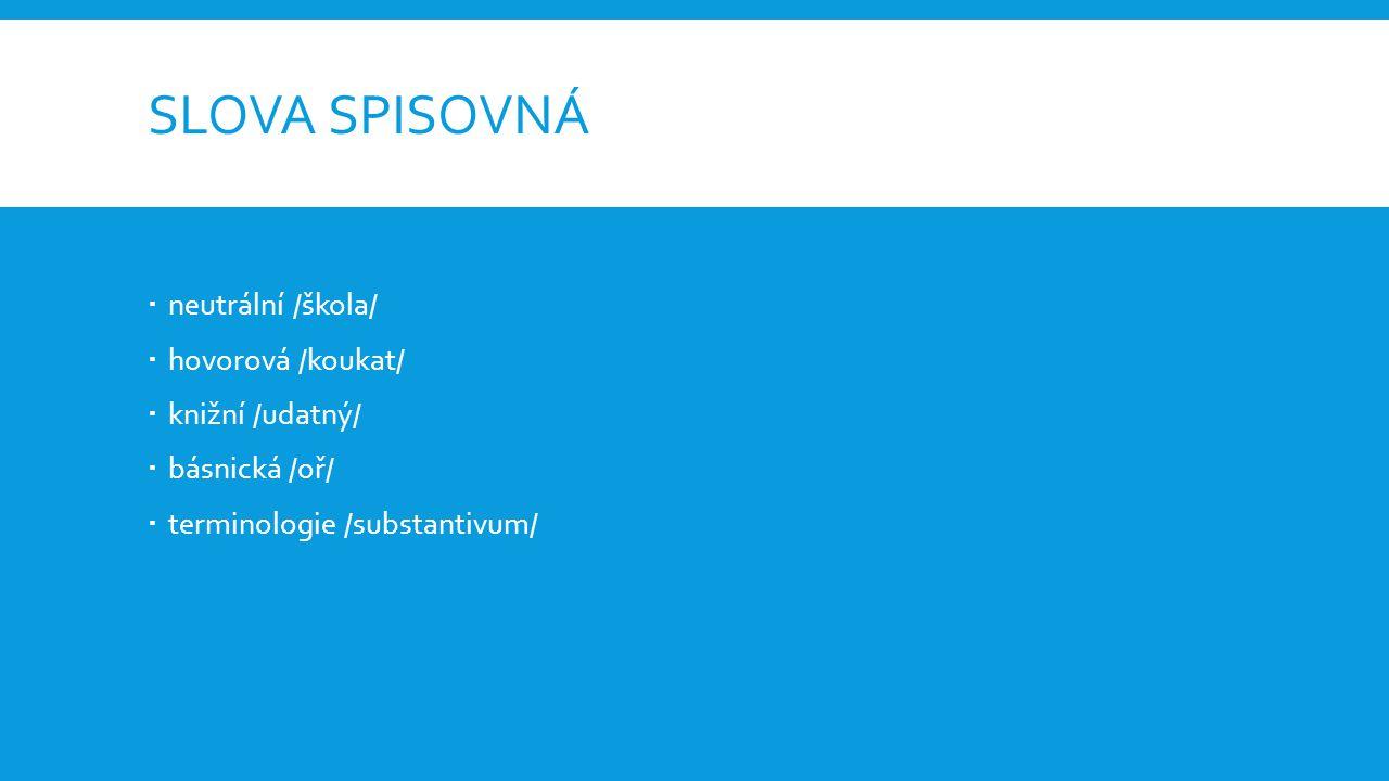 SLOVA SPISOVNÁ  neutrální /škola/  hovorová /koukat/  knižní /udatný/  básnická /oř/  terminologie /substantivum/