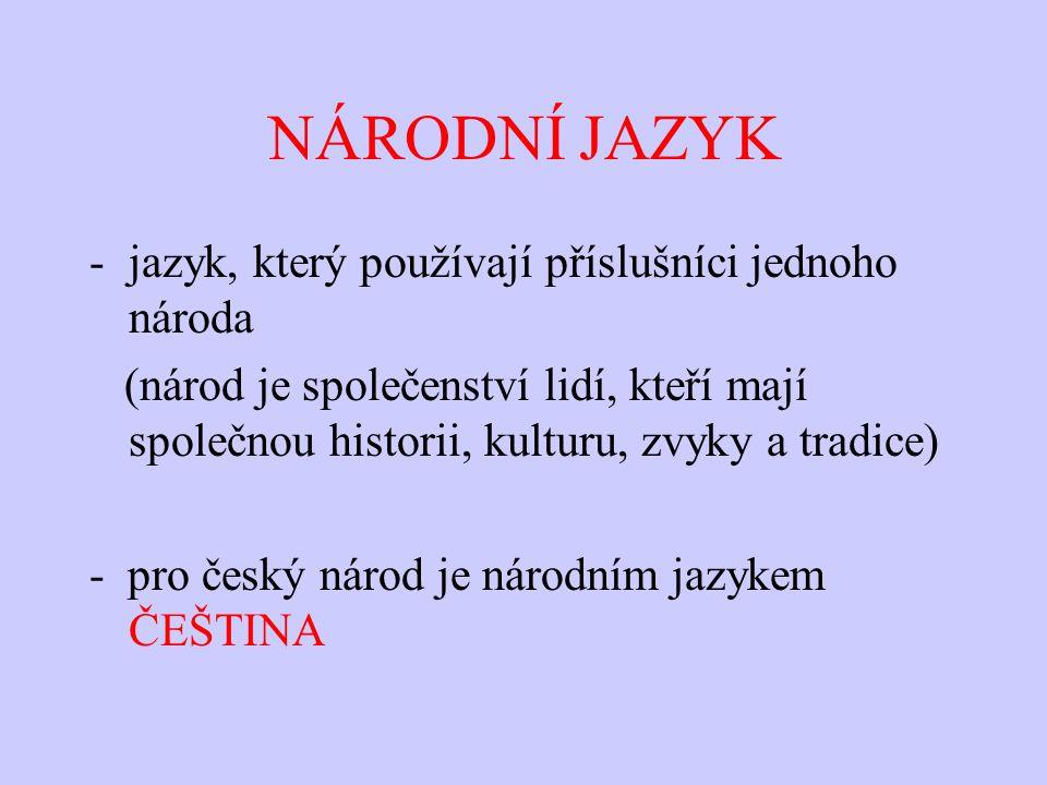 NÁRODNÍ JAZYK -jazyk, který používají příslušníci jednoho národa (národ je společenství lidí, kteří mají společnou historii, kulturu, zvyky a tradice)