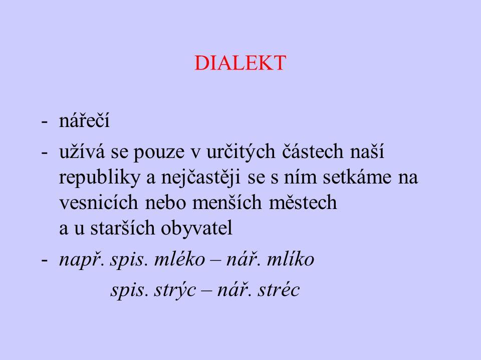 DIALEKT -nářečí -užívá se pouze v určitých částech naší republiky a nejčastěji se s ním setkáme na vesnicích nebo menších městech a u starších obyvate