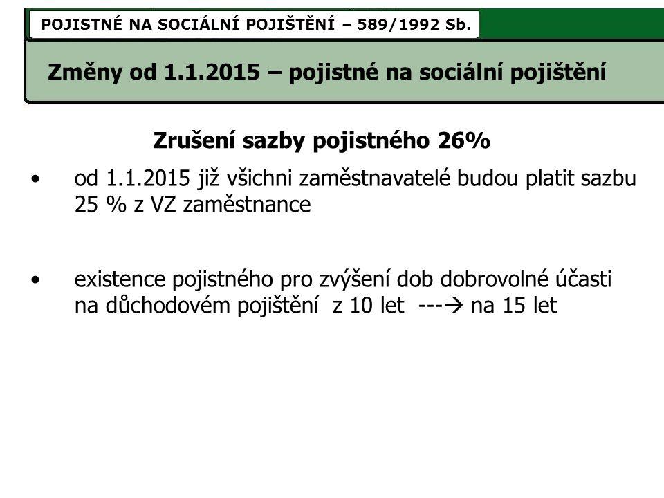od 1.1.2015 již všichni zaměstnavatelé budou platit sazbu 25 % z VZ zaměstnance existence pojistného pro zvýšení dob dobrovolné účasti na důchodovém pojištění z 10 let ---  na 15 let Zrušení sazby pojistného 26% Změny od 1.1.2015 – pojistné na sociální pojištění POJISTNÉ NA SOCIÁLNÍ POJIŠTĚNÍ – 589/1992 Sb.