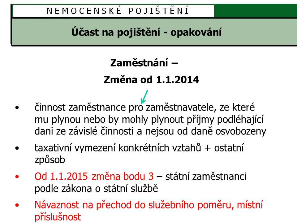 Účast na pojištění - opakování Výkon zaměstnání 1.na území ČR 2.sjednaná částka započitatelného příjmu činí aspoň 2500 Kč měsíčně Výkon zaměstnání při nesjednání částky ZP nebo sjednání ve výši < 2500 Kč - ZMR 1.na území ČR 2.dosažení příjmu alespoň 2500 Kč za kalendářní měsíc Podmínky účasti na pojištění