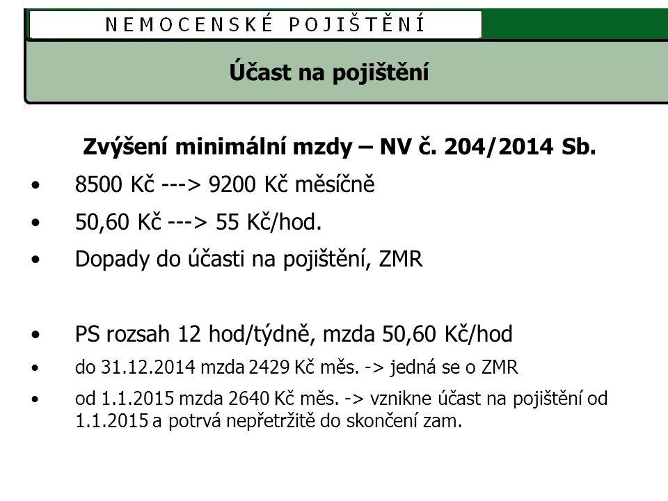 Účast na pojištění Zvýšení minimální mzdy – NV č.204/2014 Sb.