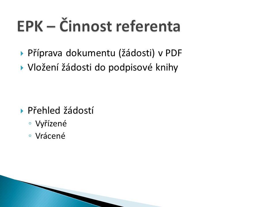  Příprava dokumentu (žádosti) v PDF  Vložení žádosti do podpisové knihy  Přehled žádostí ◦ Vyřízené ◦ Vrácené