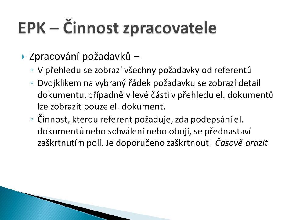  Zpracování požadavků – ◦ V přehledu se zobrazí všechny požadavky od referentů ◦ Dvojklikem na vybraný řádek požadavku se zobrazí detail dokumentu, p