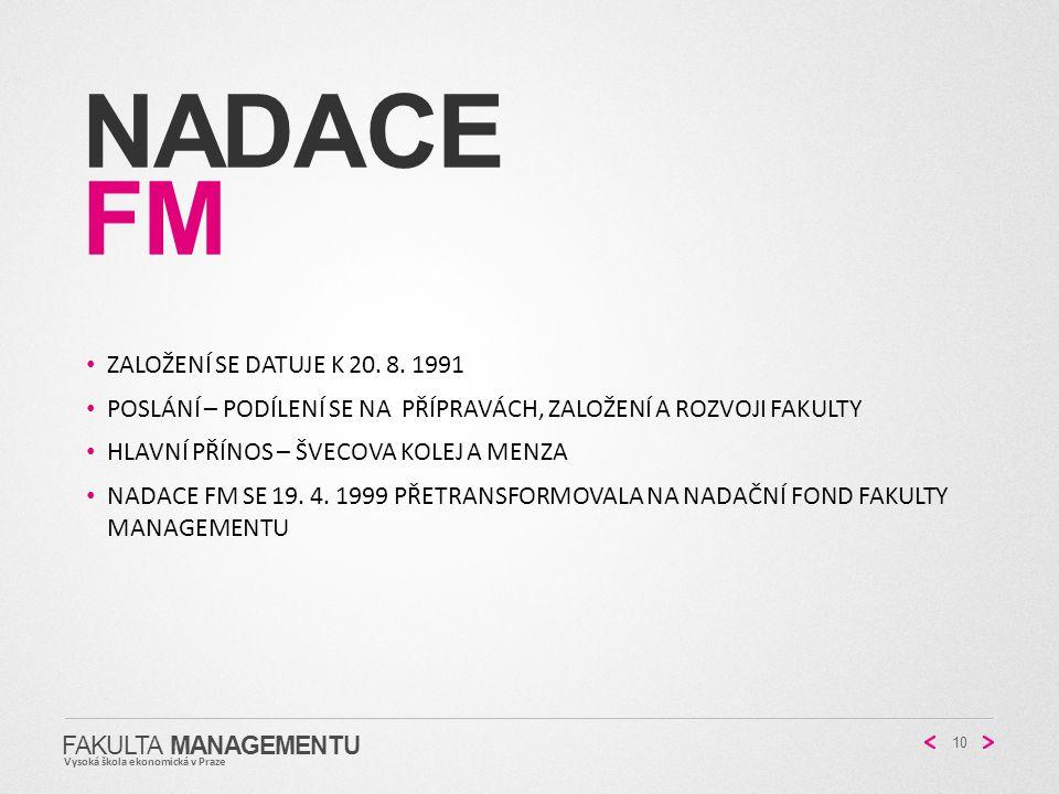 NADACE FM FAKULTA MANAGEMENTU Vysoká škola ekonomická v Praze 10 ZALOŽENÍ SE DATUJE K 20. 8. 1991 POSLÁNÍ – PODÍLENÍ SE NA PŘÍPRAVÁCH, ZALOŽENÍ A ROZV