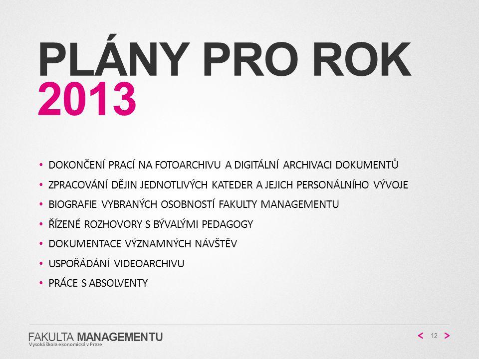 PLÁNY PRO ROK 2013 FAKULTA MANAGEMENTU Vysoká škola ekonomická v Praze 12 DOKONČENÍ PRACÍ NA FOTOARCHIVU A DIGITÁLNÍ ARCHIVACI DOKUMENTŮ ZPRACOVÁNÍ DĚ