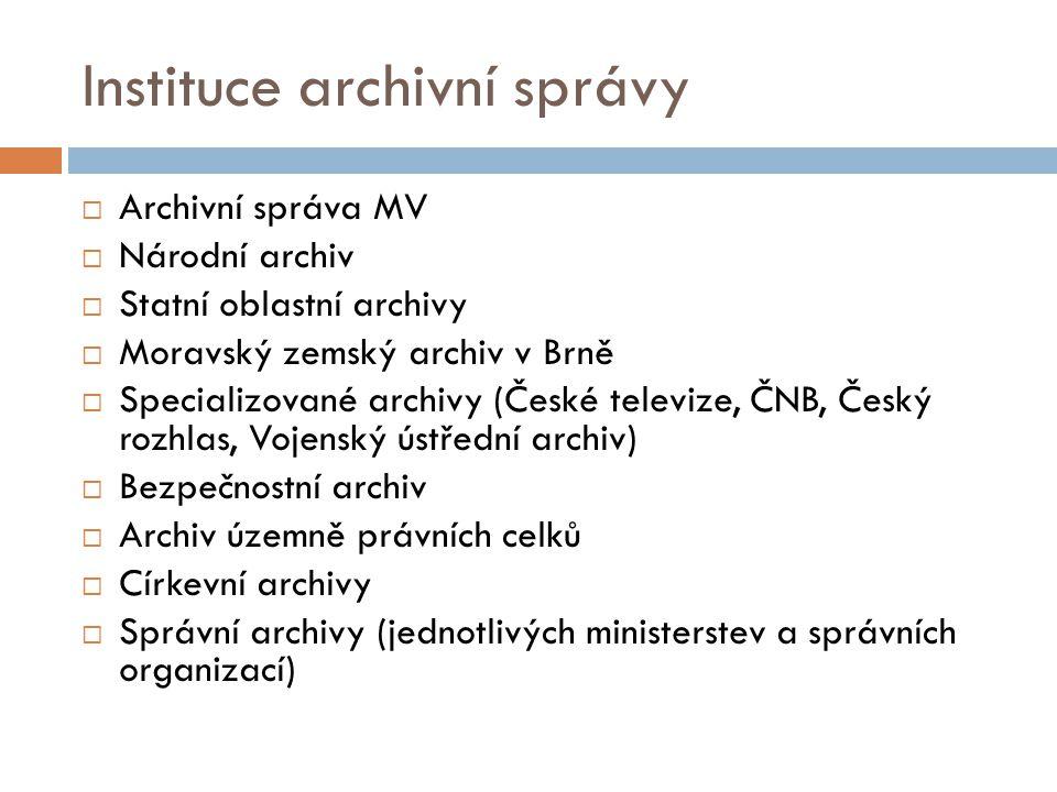 Vybrané pojmy archivnictví  Organizace s jakoukoliv právní formou podléhá zákonu o archivaci.