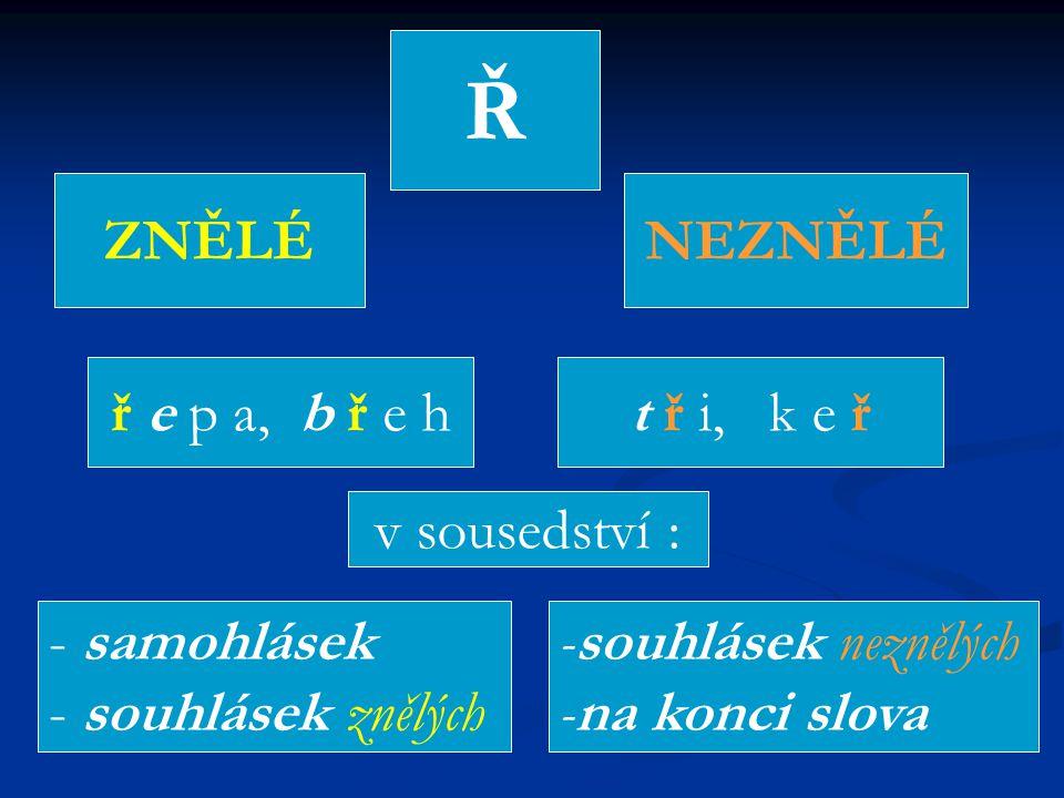 Ř ZNĚLÉNEZNĚLÉ ř e p a, b ř e ht ř i, k e ř v sousedství : - samohlásek - souhlásek znělých -souhlásek neznělých -na konci slova