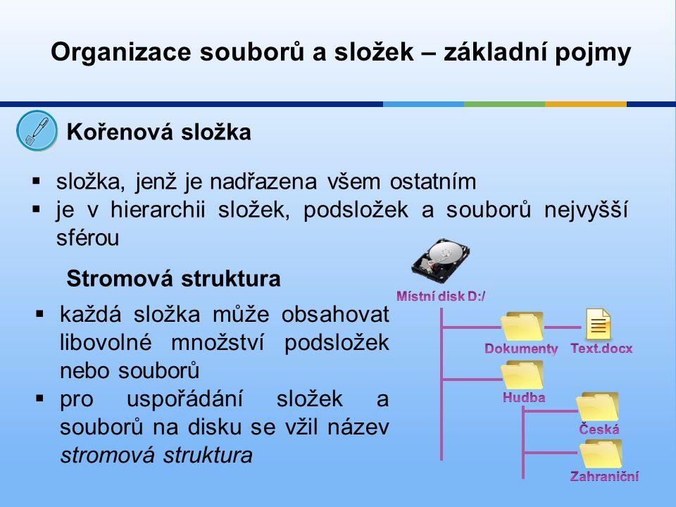 Organizace souborů a složek – základní pojmy Kořenová složka  složka, jenž je nadřazena všem ostatním  je v hierarchii složek, podsložek a souborů nejvyšší sférou Stromová struktura  každá složka může obsahovat libovolné množství podsložek nebo souborů  pro uspořádání složek a souborů na disku se vžil název stromová struktura