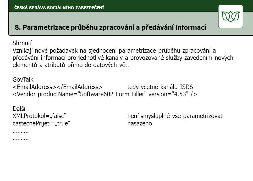 ČESKÁ SPRÁVA SOCIÁLNÍHO ZABEZPEČENÍ 8. Parametrizace průběhu zpracování a předávání informací Shrnutí Vznikají nové požadavek na sjednocení parametriz