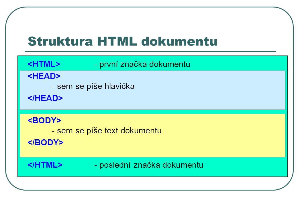 Struktura HTML dokumentu - první značka dokumentu - sem se píše hlavička - sem se píše text dokumentu - poslední značka dokumentu