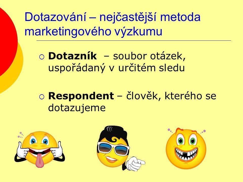 Dotazování – nejčastější metoda marketingového výzkumu  Dotazník – soubor otázek, uspořádaný v určitém sledu  Respondent – člověk, kterého se dotazujeme