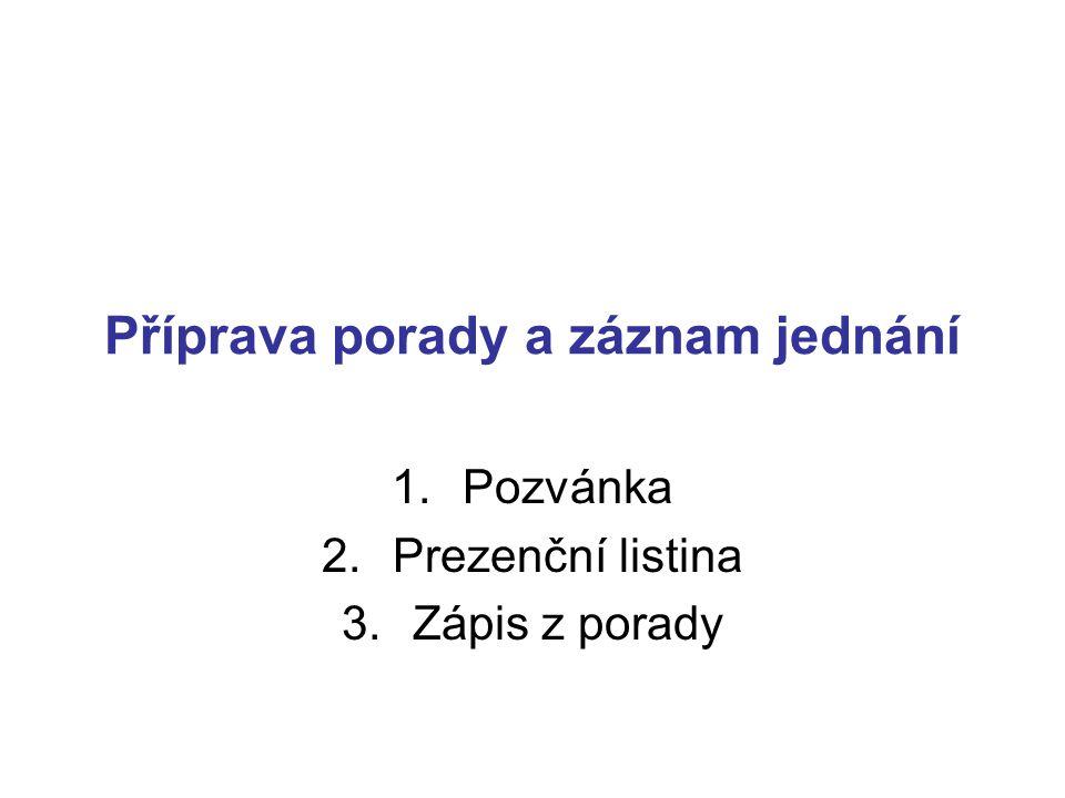 Příprava porady a záznam jednání 1.Pozvánka 2.Prezenční listina 3.Zápis z porady