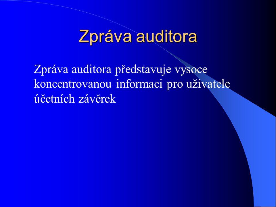 Zpráva auditora Zpráva auditora představuje vysoce koncentrovanou informaci pro uživatele účetních závěrek