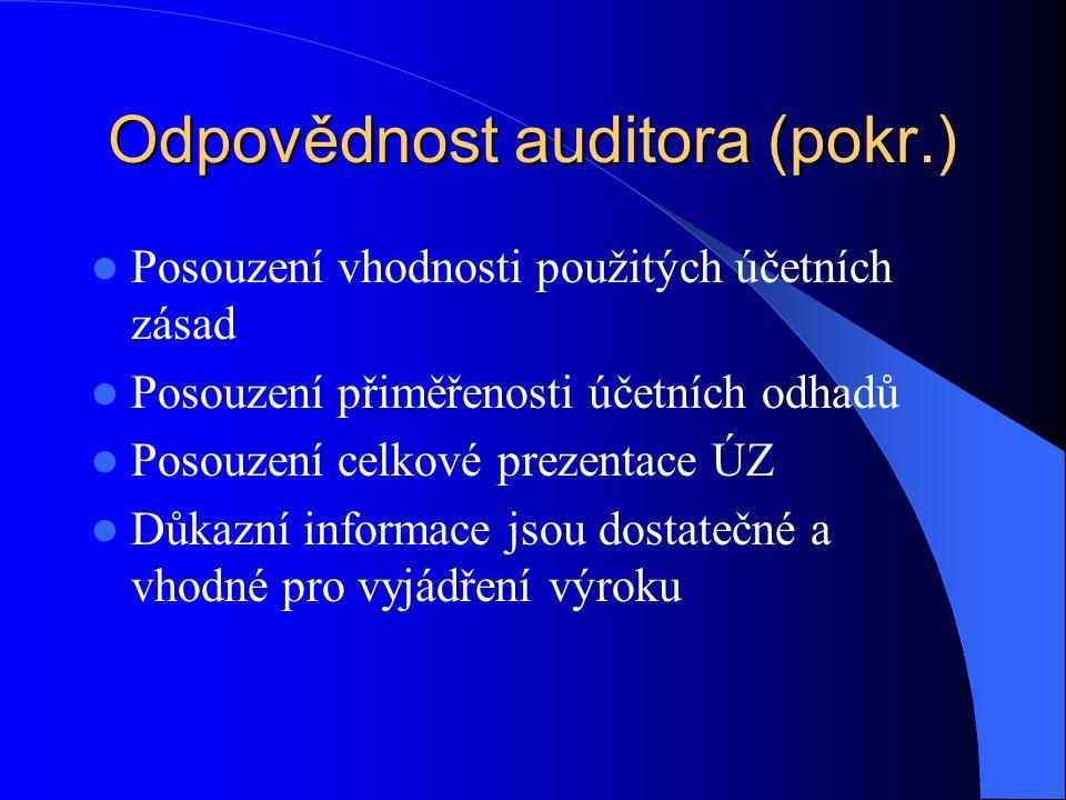 Odpovědnost auditora (pokr.) Posouzení vhodnosti použitých účetních zásad Posouzení přiměřenosti účetních odhadů Posouzení celkové prezentace ÚZ Důkazní informace jsou dostatečné a vhodné pro vyjádření výroku