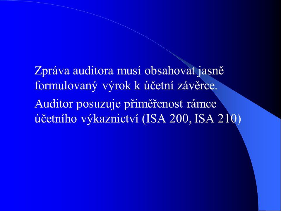 Zpráva auditora musí obsahovat jasně formulovaný výrok k účetní závěrce. Auditor posuzuje přiměřenost rámce účetního výkaznictví (ISA 200, ISA 210)