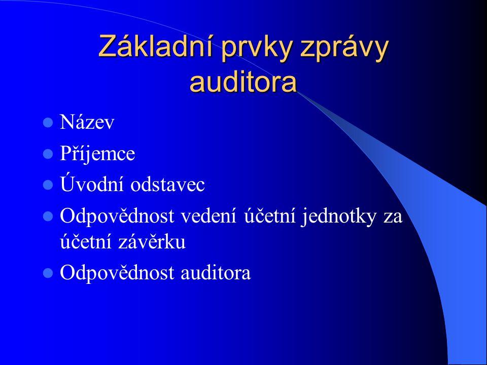 Základní prvky zprávy auditora Název Příjemce Úvodní odstavec Odpovědnost vedení účetní jednotky za účetní závěrku Odpovědnost auditora