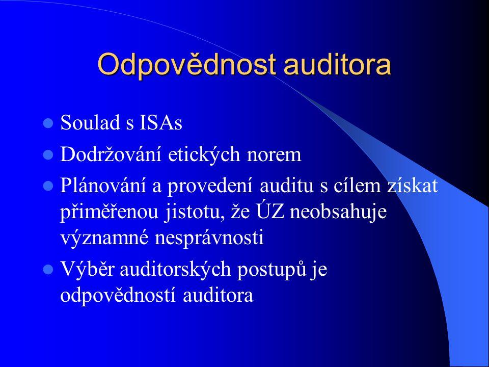 Odpovědnost auditora Soulad s ISAs Dodržování etických norem Plánování a provedení auditu s cílem získat přiměřenou jistotu, že ÚZ neobsahuje významné nesprávnosti Výběr auditorských postupů je odpovědností auditora