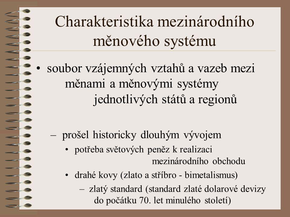 Charakteristika mezinárodního měnového systému soubor vzájemných vztahů a vazeb mezi měnami a měnovými systémy jednotlivých států a regionů – prošel h