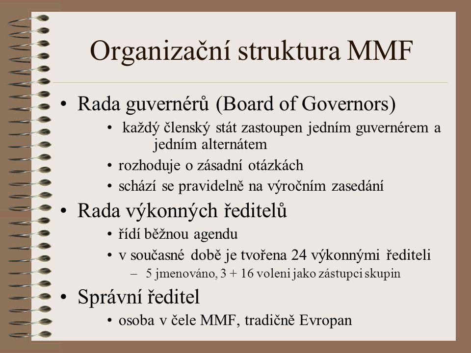 Organizační struktura MMF Rada guvernérů (Board of Governors) každý členský stát zastoupen jedním guvernérem a jedním alternátem rozhoduje o zásadní otázkách schází se pravidelně na výročním zasedání Rada výkonných ředitelů řídí běžnou agendu v současné době je tvořena 24 výkonnými řediteli – 5 jmenováno, 3 + 16 voleni jako zástupci skupin Správní ředitel osoba v čele MMF, tradičně Evropan