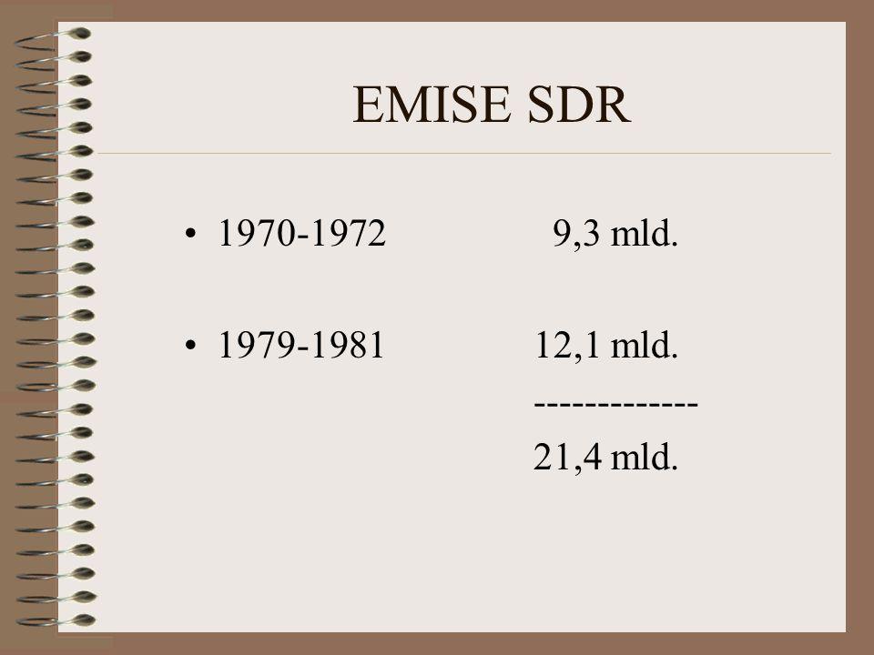 EMISE SDR 1970-1972 9,3 mld. 1979-198112,1 mld. ------------- 21,4 mld.