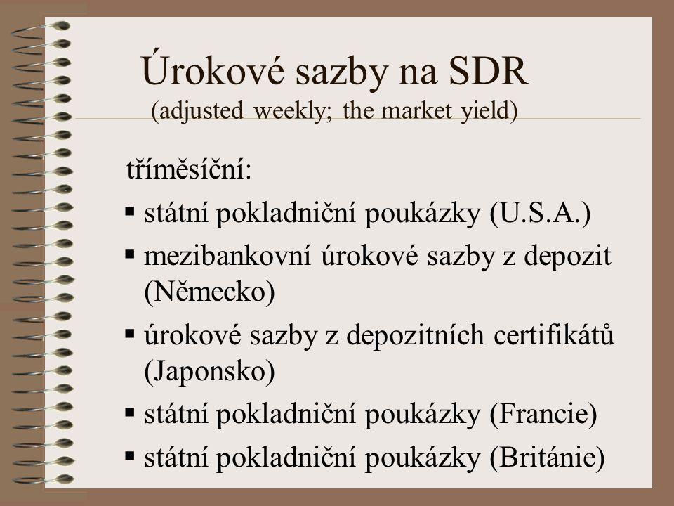 Úrokové sazby na SDR (adjusted weekly; the market yield) tříměsíční:  státní pokladniční poukázky (U.S.A.)  mezibankovní úrokové sazby z depozit (Německo)  úrokové sazby z depozitních certifikátů (Japonsko)  státní pokladniční poukázky (Francie)  státní pokladniční poukázky (Británie)