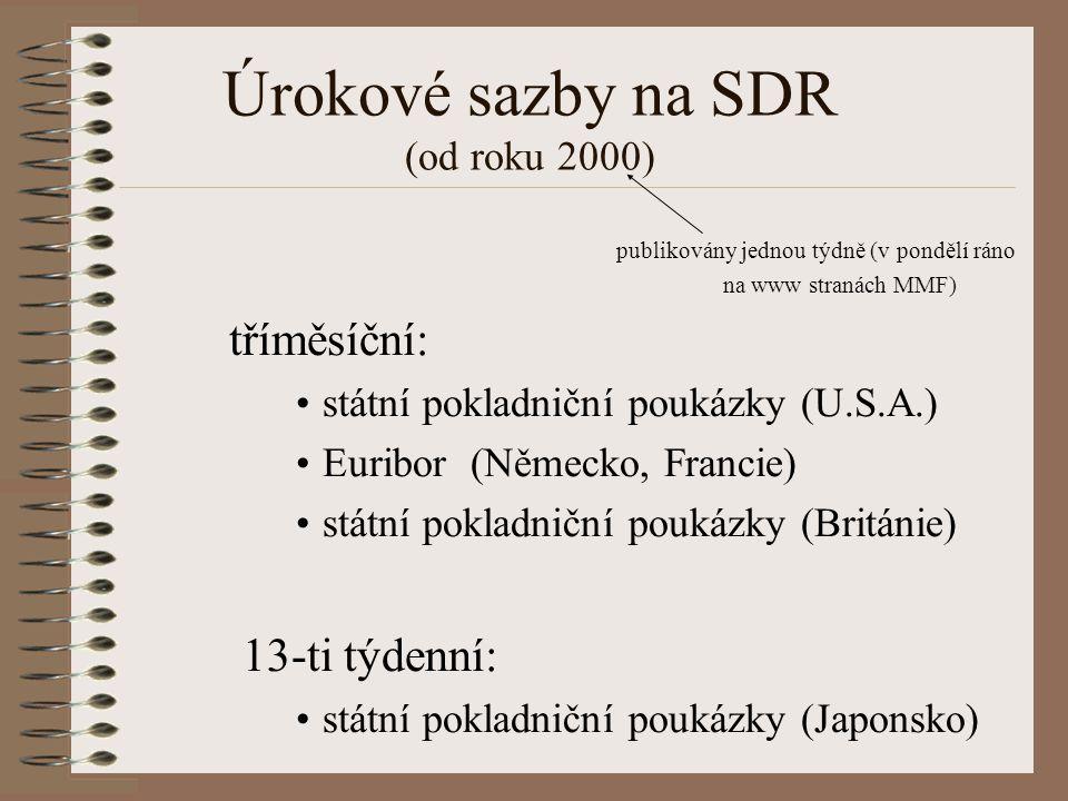 Úrokové sazby na SDR (od roku 2000) publikovány jednou týdně (v pondělí ráno na www stranách MMF) tříměsíční: státní pokladniční poukázky (U.S.A.) Euribor (Německo, Francie) státní pokladniční poukázky (Británie) 13-ti týdenní: státní pokladniční poukázky (Japonsko)
