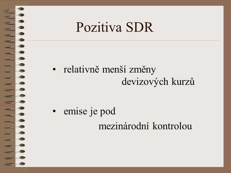 Pozitiva SDR relativně menší změny devizových kurzů emise je pod mezinárodní kontrolou