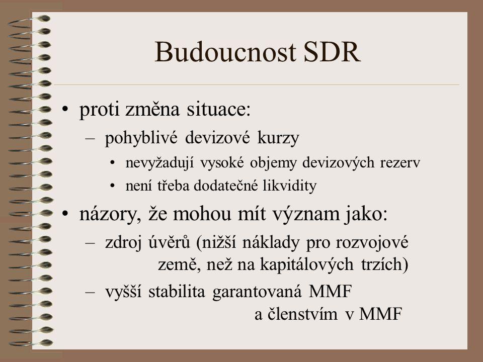 Budoucnost SDR proti změna situace: – pohyblivé devizové kurzy nevyžadují vysoké objemy devizových rezerv není třeba dodatečné likvidity názory, že mo