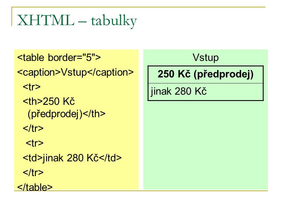 XHTML – tabulky (značky) Značka table  Vytvoření tabulky.