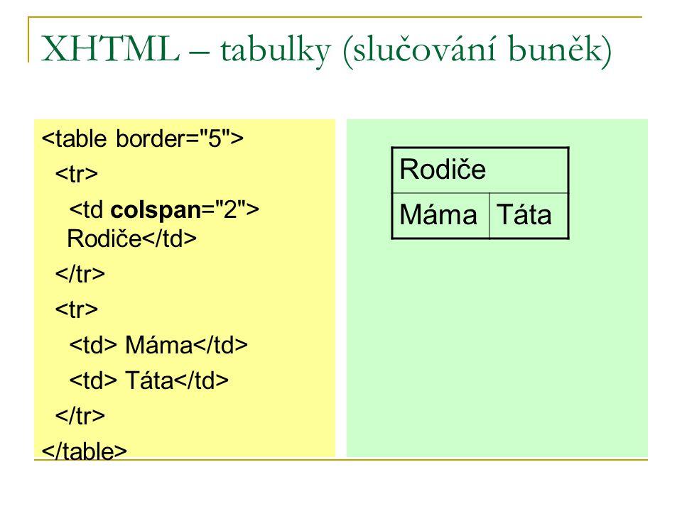 XHTML – tabulky (slučování buněk) Rodiče Máma Táta Rodiče MámaTáta