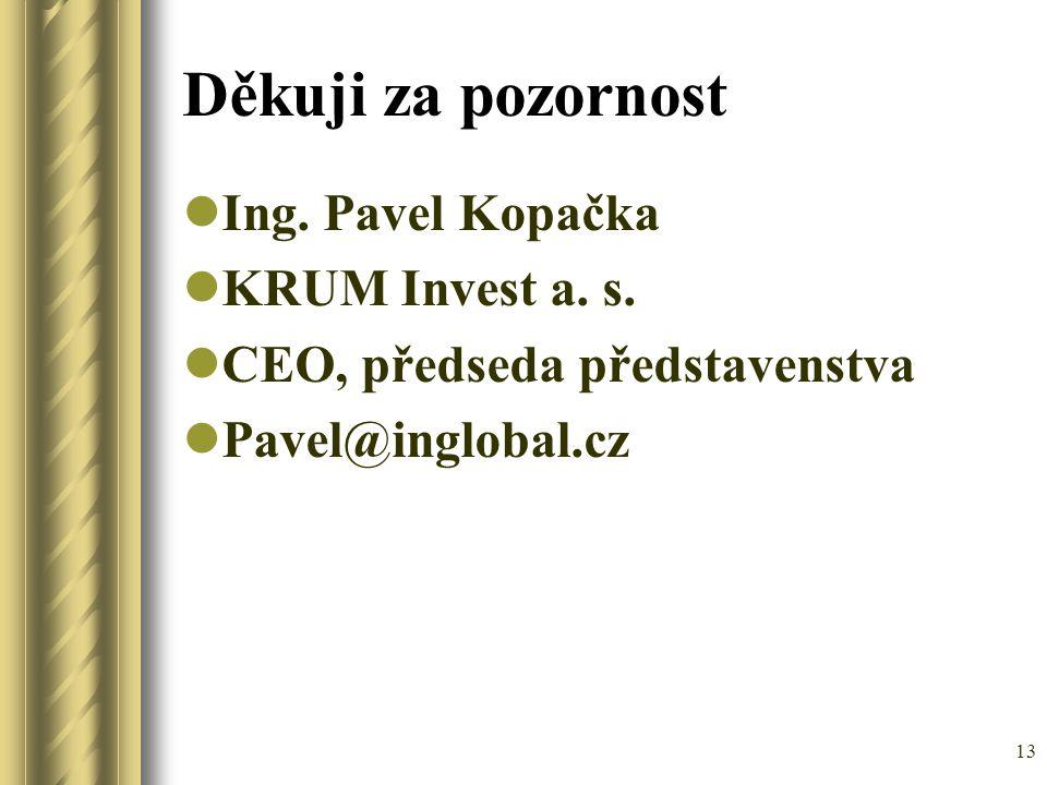 13 Děkuji za pozornost Ing. Pavel Kopačka KRUM Invest a. s. CEO, předseda představenstva Pavel@inglobal.cz