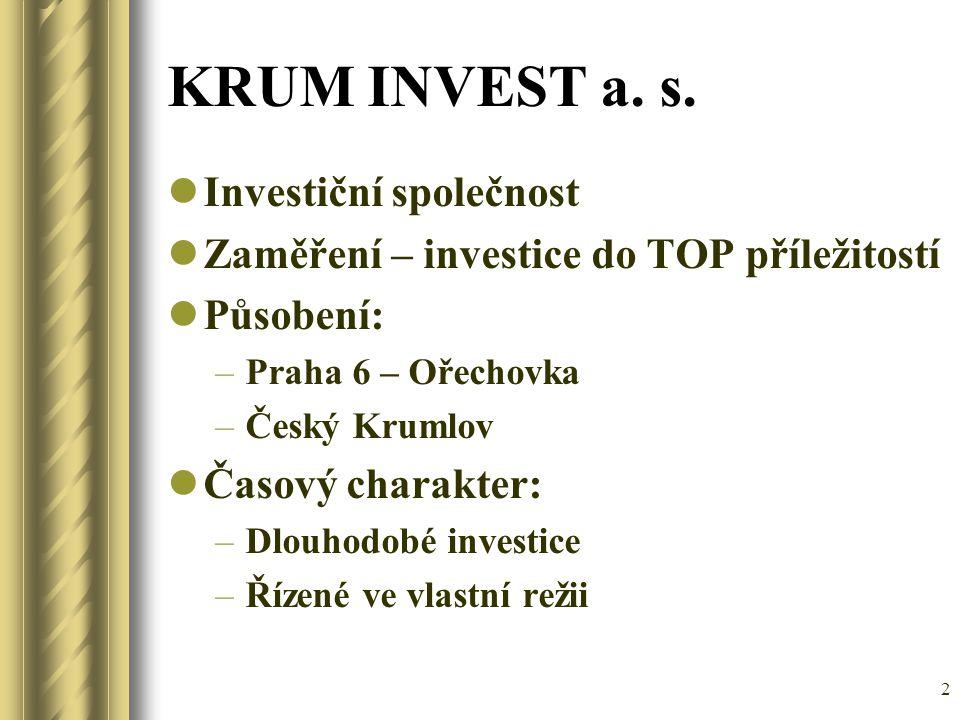 2 KRUM INVEST a. s. Investiční společnost Zaměření – investice do TOP příležitostí Působení: –Praha 6 – Ořechovka –Český Krumlov Časový charakter: –Dl