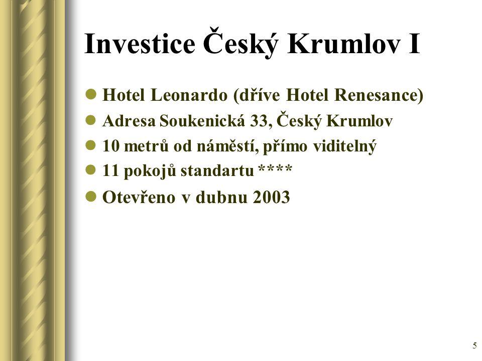 5 Investice Český Krumlov I Hotel Leonardo (dříve Hotel Renesance) Adresa Soukenická 33, Český Krumlov 10 metrů od náměstí, přímo viditelný 11 pokojů