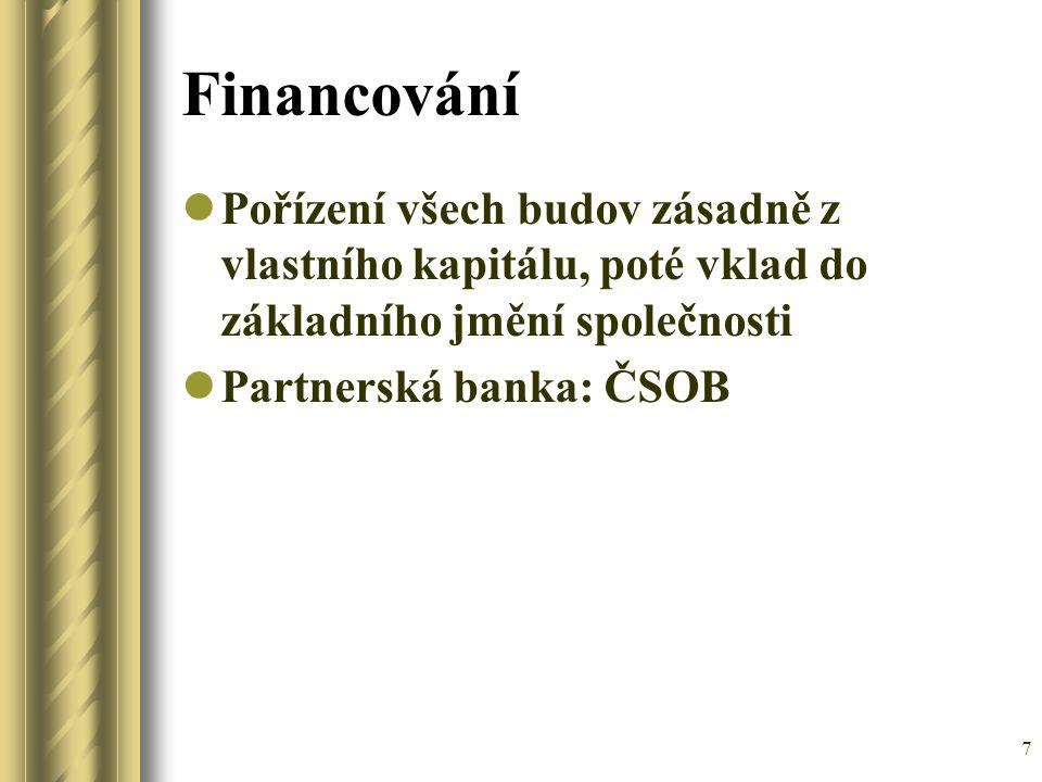 7 Financování Pořízení všech budov zásadně z vlastního kapitálu, poté vklad do základního jmění společnosti Partnerská banka: ČSOB