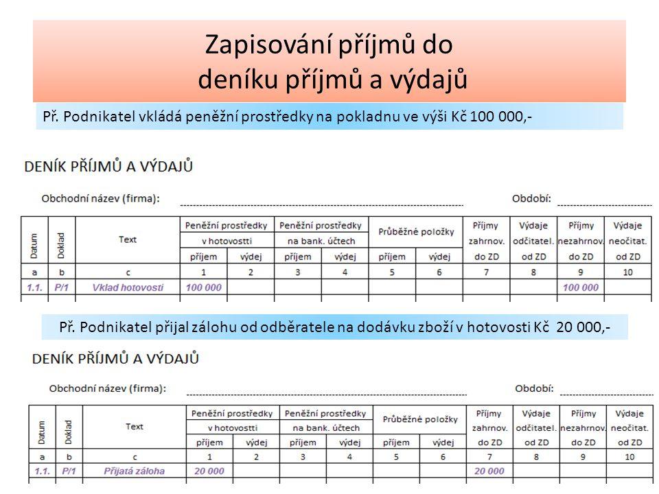 Příjmy zahrnované do ZD Prodej zboží Prodej výrobků Prodej služeb Ostatní (přijaté dotace) Příjmy nezahrnované do ZD Příjem DPH Osobní vklad podnikatele Příjmy zdaněné srážkovou daní (dividendy) Úvěr a půjčky Zapisování příjmů do deníku příjmů a výdajů