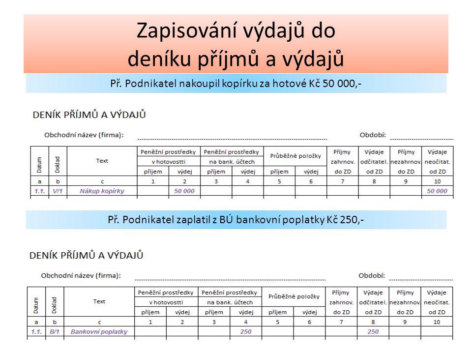 Výdaje odčitatelné od ZD Nákup materiálu Nákup DLM (do 40 000,-) Nákup zboží Mzdy Pojistné (SZ a ZP) Provozní režie (reklama, nájemné, poradenské služby) Výdaje neodčitatelné od ZD Nákup DLM (nad 40 000,-) Platba daně z příjmu podnikatele SZ a ZP OSVČ Platba DPH Výběr po osobní spotřebu Poskytnuté peněžní dary Reprezentace Splátky úvěrů a půjček Zapisování výdajů do deníku příjmů a výdajů