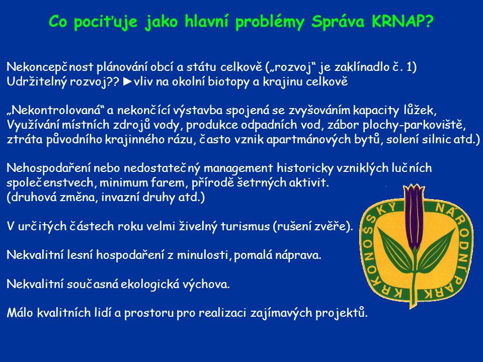 Co pociťuje jako hlavní problémy Správa KRNAP.