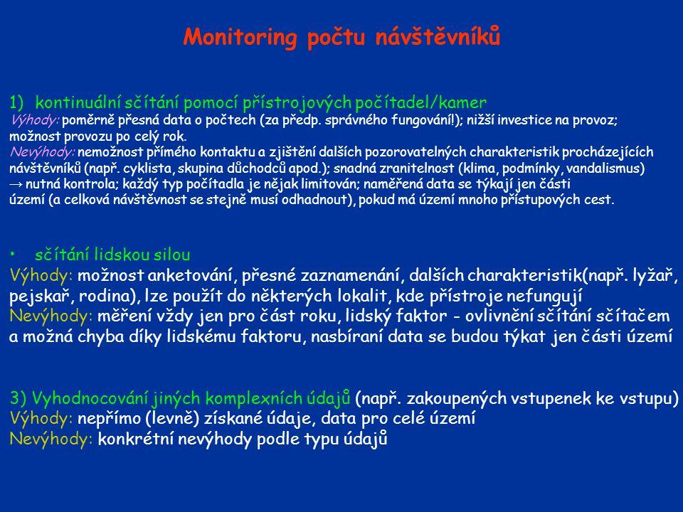 Monitoring počtu návštěvníků 1)kontinuální sčítání pomocí přístrojových počítadel/kamer Výhody: poměrně přesná data o počtech (za předp.