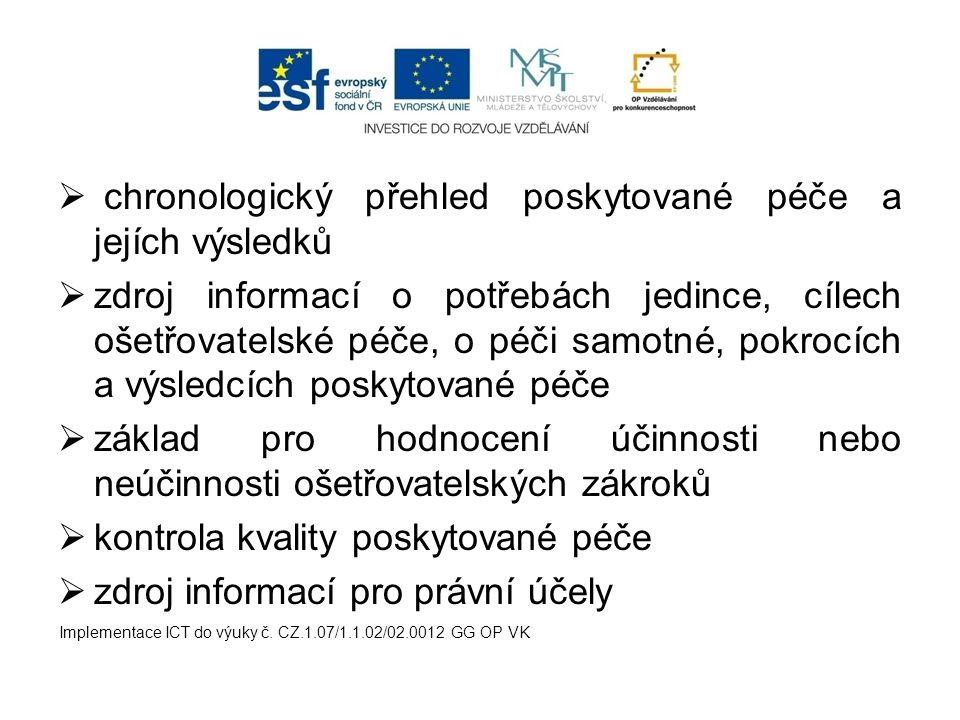  nástroj pro vzdělání  zdroj dat pro ošetřovatelský výzkum  umožnění přenosu informací o pacientovi mezi členy týmu Implementace ICT do výuky č.