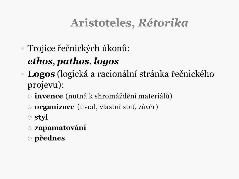 Aristoteles, Rétorika Trojice řečnických úkonů: ethos, pathos, logos Logos (logická a racionální stránka řečnického projevu):  invence (nutná k shrom
