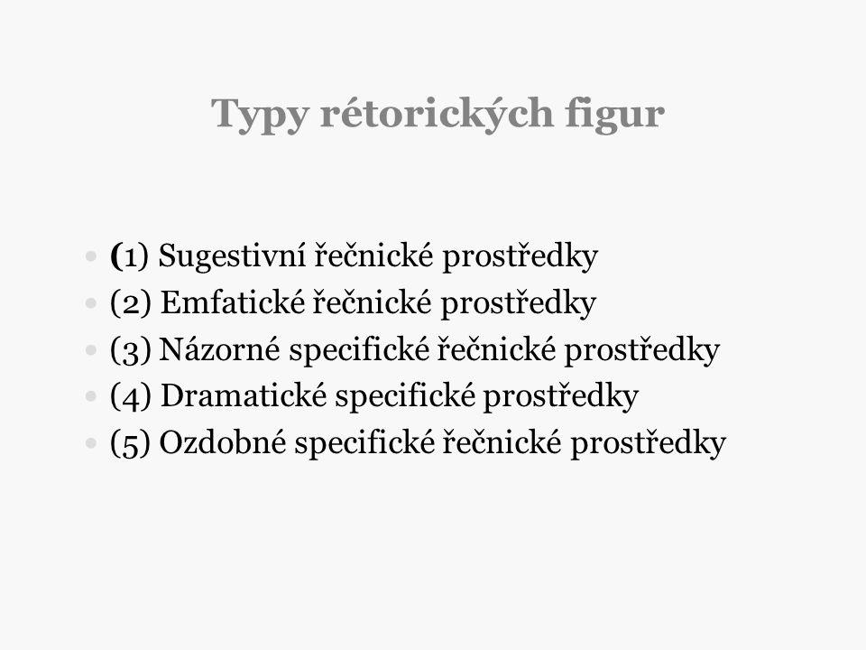 Typy rétorických figur (1) Sugestivní řečnické prostředky (2) Emfatické řečnické prostředky (3) Názorné specifické řečnické prostředky (4) Dramatické