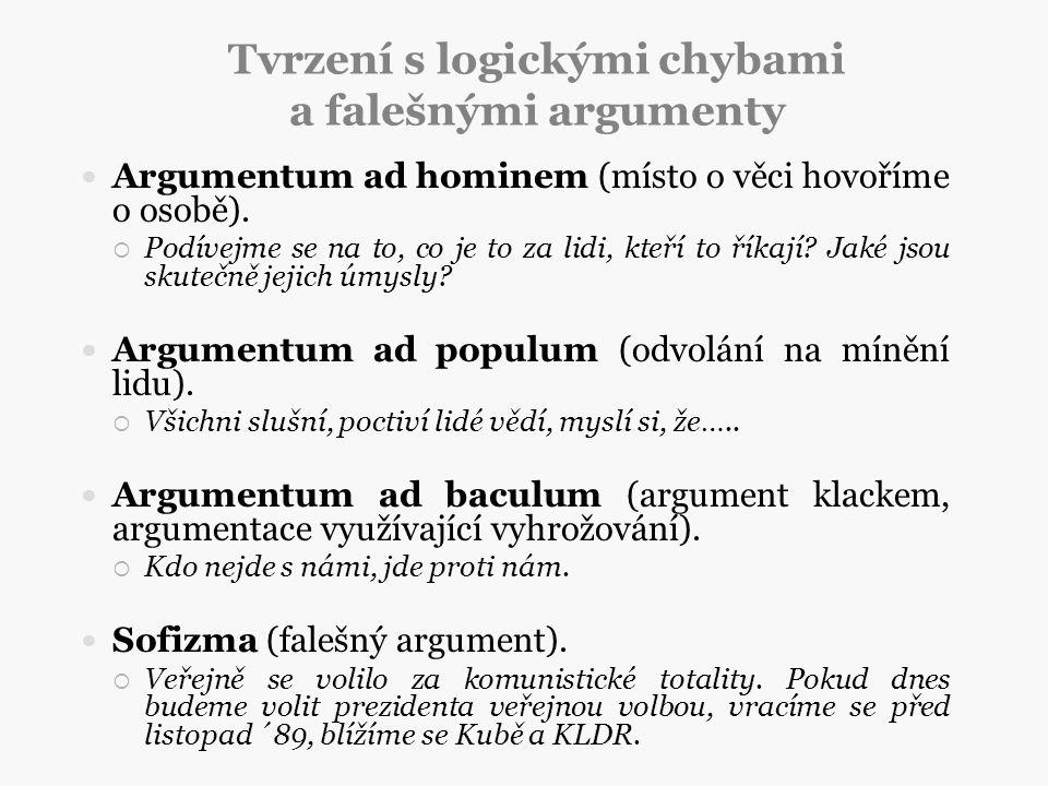 Tvrzení s logickými chybami a falešnými argumenty Argumentum ad hominem (místo o věci hovoříme o osobě).  Podívejme se na to, co je to za lidi, kteří