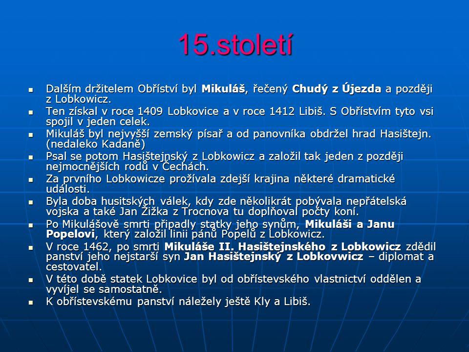 15.století Dalším držitelem Obříství byl Mikuláš, řečený Chudý z Újezda a později z Lobkowicz. Dalším držitelem Obříství byl Mikuláš, řečený Chudý z Ú