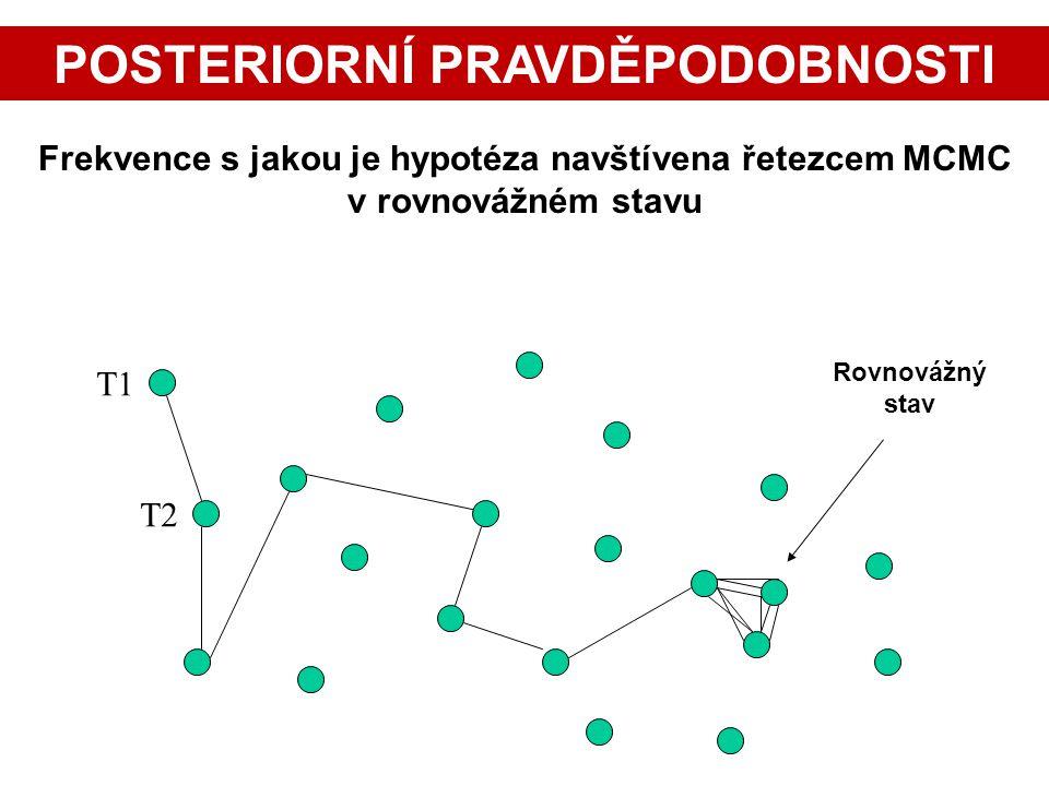 T1 T2 Rovnovážný stav Frekvence s jakou je hypotéza navštívena řetezcem MCMC v rovnovážném stavu POSTERIORNÍ PRAVDĚPODOBNOSTI