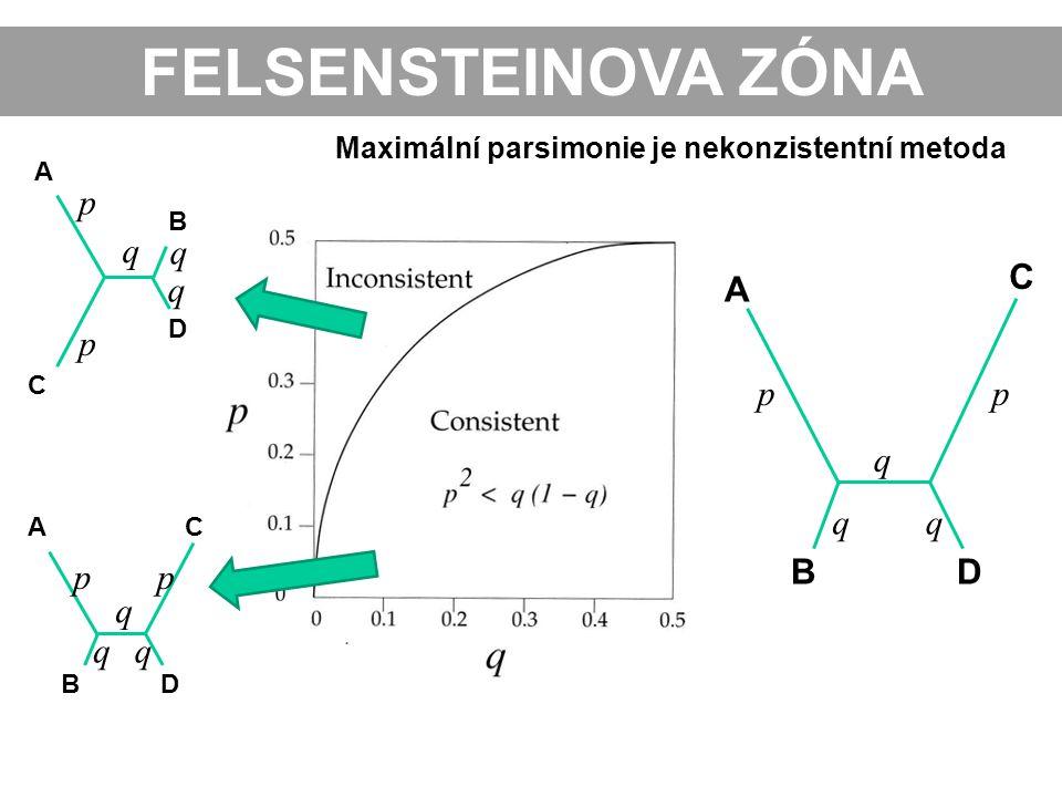 FELSENSTEINOVA ZÓNA A C B D AC BD p p pp q q q q qq Maximální parsimonie je nekonzistentní metoda pp q qq A C BD
