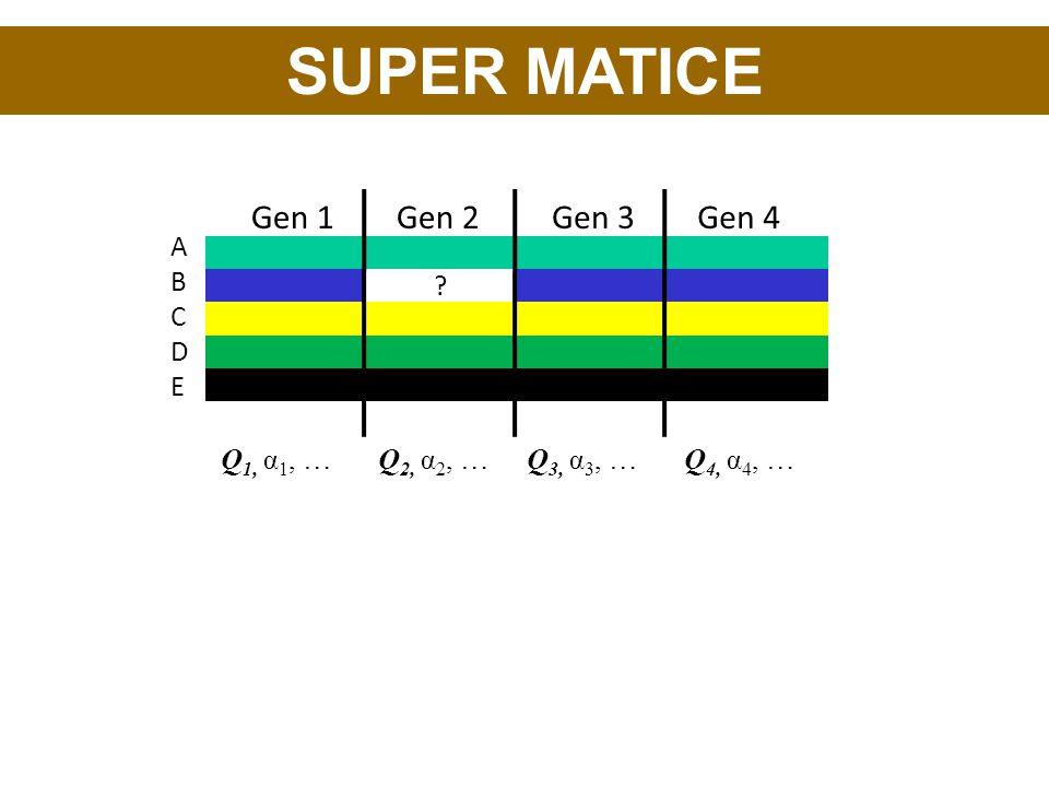 ABCDEABCDE Gen 1Gen 2Gen 3Gen 4 ? Q 1, α 1, …Q 2, α 2, …Q 3, α 3, …Q 4, α 4, …
